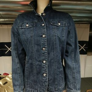 Laura Ashley Denim Jacket w/Blingy Collar, Sz.M